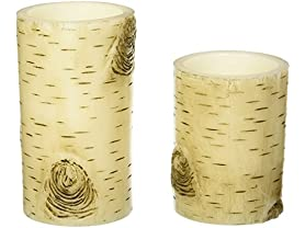 2 Birch Bark Flameless Pillar Candles…