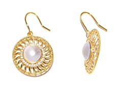 PinWheel White Mabe Pearl CZ Earrings