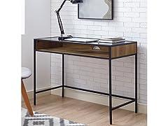 "42"" Glass Top Desk - Barnwood"