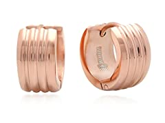 18 kt Rose Gold Plated Triple Row Huggie