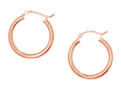18K Rose Gold Diamond Cut Hoop Earrings