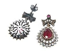 SS Dyed Ruby & White CZ Genuine Semi-Precious Gemstone Earrings