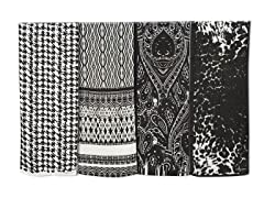 4-Pack Polyester Scarves,Black/White