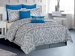 Keasby 8 Piece Comforter Set- 2 Sizes