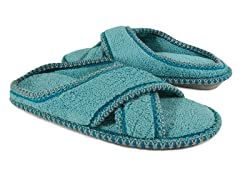 Muk Luks Ada Micro Chenille Cross Cross Slippers, Light Teal