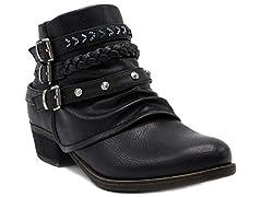 Rampage Womens Tabitha Triple Buckle Ankle Boot
