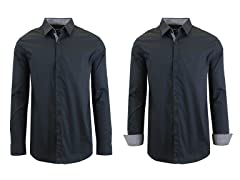 GBH Men's Long Sleeve Solid Dress Shirt