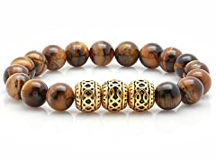 Men's Tiger Eye Beaded Bracelet With 18k Gold Plated Stainless Steel Beads