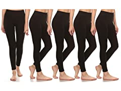 Women's Premium Fleece Leggings 5-Pack