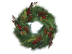 Pine Wreath with Cones and Berries 24""