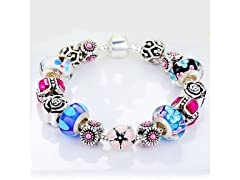 Floral Murano Glass and Crystal Bracelet