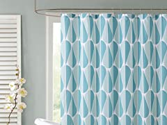 Aqua Drops Embossed Shower Curtain - 2 Colors