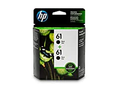 HP 61 Black Ink Cartridge, 2 Cartridges