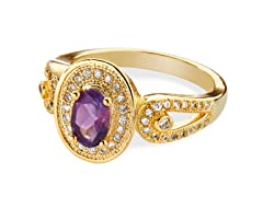 14K Plated Amethyst & CZ Ring