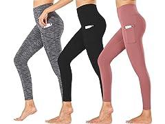 Nextex Womens Active Leggings Pockets 3P