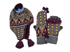 MUK LUKS® Fur Lined Helmet w Glove, Plum