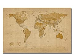 Antique World Map 18x24 Canvas