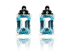SS Genuine Sky Blue Topaz & Blue Sapphire Earrings