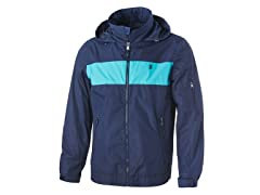 Izod Men's Color Block Hooded Windbreaker