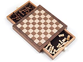 Trademark Inlaid Wood Chess Cabinet w/Staunton Pieces