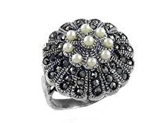 Marcasite Pearl Bead Ring - Size 8