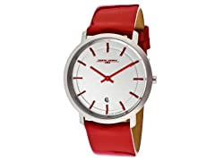 Unisex Slim Red Leather Watch