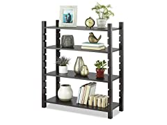 Adjustable 4-Tier Wood Shelving-Walnut