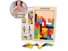 briteNway Wooden Tetris Puzzle Toy