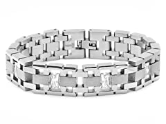 "Stainless Steel 8"" Link Bracelet w/ Crystal"