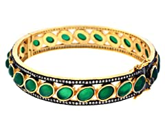 18K Gold-Plated SS Green Agate Semi-Precious Gemstone Bangle