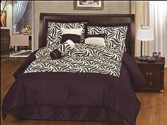 Zebra 7pc Comforter Set - Purple - 2 Sizes