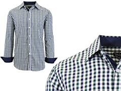 Men's Long Sleeve Gingham Dress Shirt