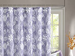 Felice Embossed Shower Curtain - Purple