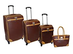 London Bridge Saffiano 4pc Set - Brown