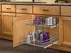 Extra Large Two-Tier Chrome Basket 20.5""