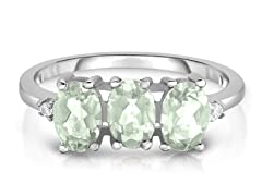 3.00 CTTW Genuine Green Amethyst Ring