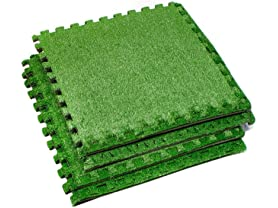 "24"" Interlocking Grass Deck Tiles 4-Pack"