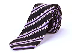 Silk Tie, Purple & White Stripes