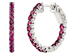 SS Created Pink Saphire Gemstone Hoop Earrings