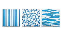 Sky Canvas Print: Blue Strips and Stripes- Set of 3