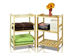 Solid Pine 3-Tier Storage Shelf Set of 2