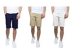 Men's Cotton Stretch Chino Shorts 3PK