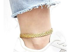 18K Gold Braided Herringbone Anklet