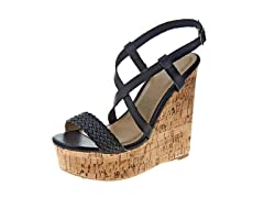 Carrini Strappy Braided Wedge Sandal, Black