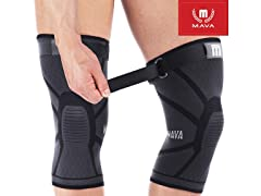 Knit Knee Support Sleeves w Strap (Pair)
