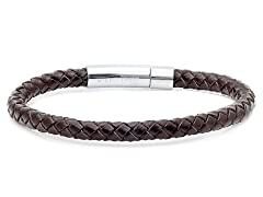 Men's Leather Braided Bracelet, Brown
