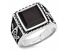 Simulated Onyx Accent Masonic Ring