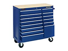 40-Inch 14-Drawer Rolling Cart, Blue