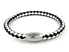 2 Tone Braided Leather Bracelet, Black/White