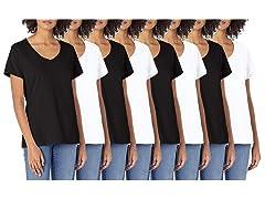 Womens 8PK Hanes White/Black V-Neck Tees